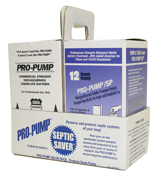 Pro-Pump Septic Saver by Ecological Laboratories. Sold by T.W. Ammons Septic Service, Inc.